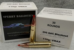 Sperry Ballistics 300 AAC Blackout 110 grain VMAX (30 rounds)
