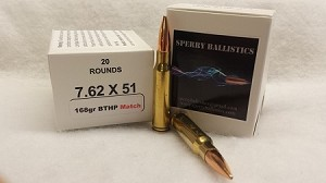 Sperry Ballistics 308 Winchester 168 grain Boat Tail Hollow Point Match (20 qty)