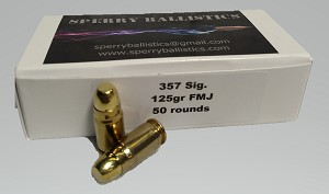 Sperry Ballistics 357 Sig 125 gr Full Metel Jacket (50 rounds)